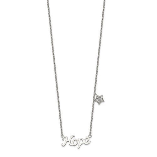 Sterling Silver Polished CZ HOPE With Star Necklace
