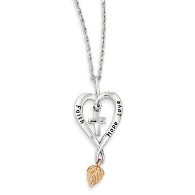 Sterling Silver And 12K Rose Leaf Faith, Hope, Love Heart Necklace