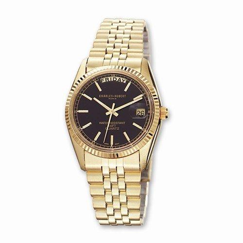 Mens Charles Hubert IP-Plated Black Dial Watch