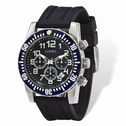 Mens Chisel Black Dial And Silicone Strap Chronograph Watch
