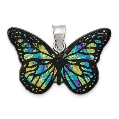 Sterling Silver Blue Dichroic Glass Butterfly Pendant
