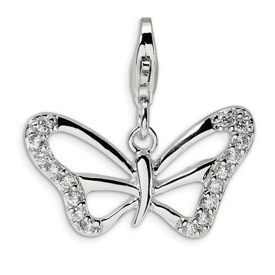 Sterling Silver CZ Polished Butterfly/Lobster Clasp Charm