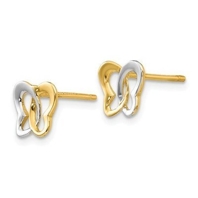 14K And Rhodium Butterfly Post Earrings