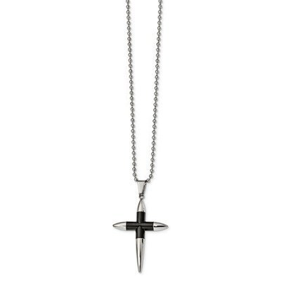 Stainless Steel Polished Black IP-Plated Pointed Cross Necklace