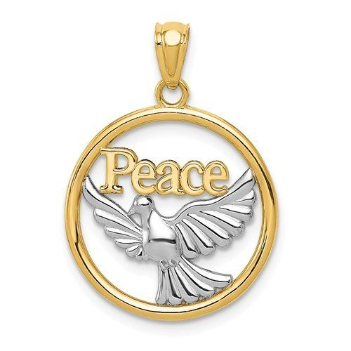 14k Yellow Gold Rhodium Plated Polished Peace Dove Pendant