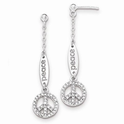 Sterling Silver Polished CZ Peace Dangle Post Earrings