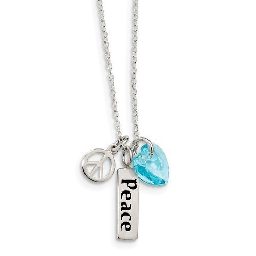 Sterling Silver Enameled Peace Blue Swarovski Heart Charm Necklace