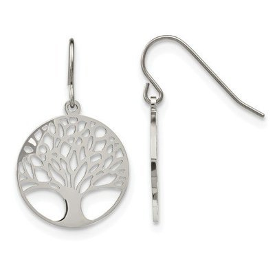 Stainless Steel Polished Tree Of Life Cut-Out Shepherd Hook Earrings