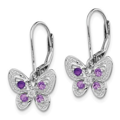 Sterling Silver Amethyst/Pink Quartz/ Diamond Butterfly Earrings