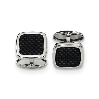 Stainless Steel Polished Black Carbon Fiber Inlay Cuff Links