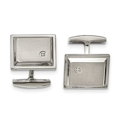 Stainless Steel Brushed And Polished CZ Rectangle Cuff Links