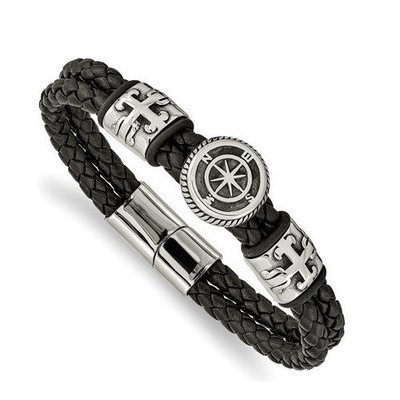 Stainless Steel Antiqued And Polished Black Leather Compass Bracelet
