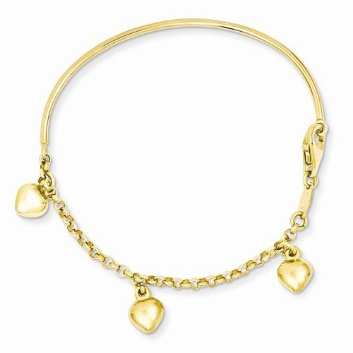 14k Polished Dangle Heart Baby Bracelet