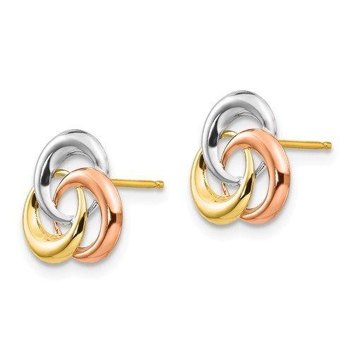 14k Tri-Color Madi K 3 Circle Post Earrings