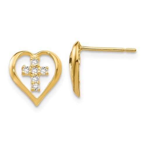 14k Madi K CZ Children's Heart Cross Post Earrings
