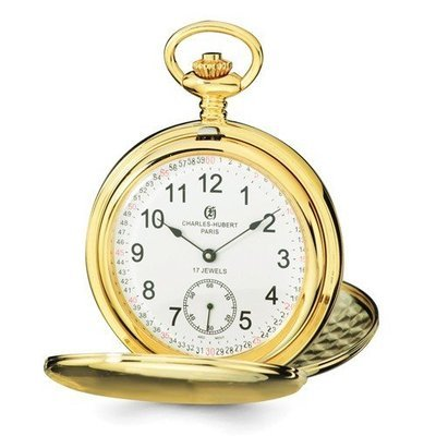 Charles Hubert IP-Plated Stainless Steel White Dial Pocket Watch