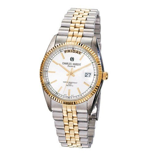 Mens Charles Hubert Two-Tone Stainless Steel Silver Dial Watch