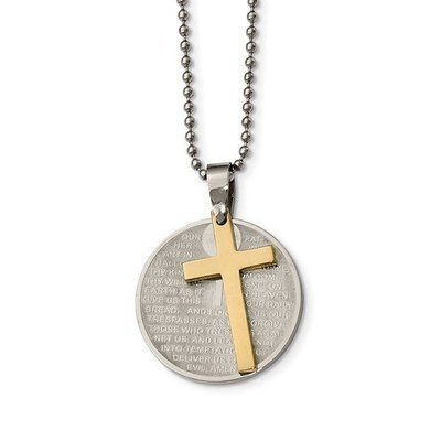 Stainless Steel Brushed/Polished Yellow IP Lords Prayer Cross Necklace
