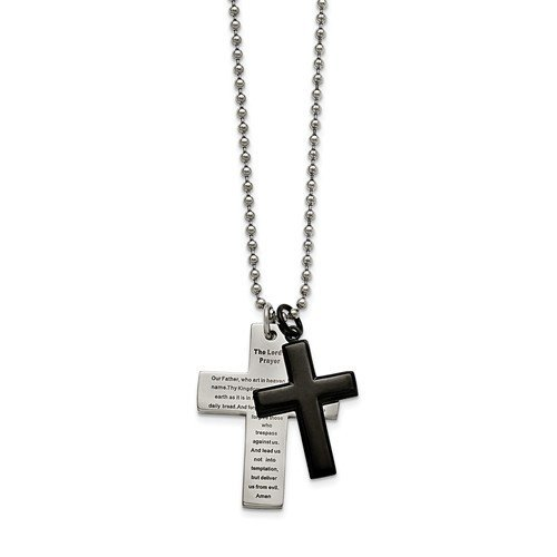 Stainless Steel Polished Black IP-Plated Lord's Prayer Cross Necklace