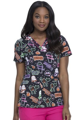 BOO - Ladies HALLOWEEN Witchy Woman Scrub Top
