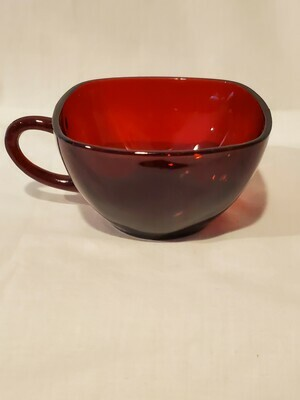Anchor Hocking, Fire King, Charm Ruby Red Square Cups, Plain Pattern