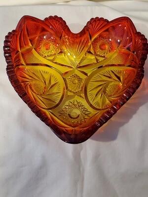 Fenton, Vintage Heart Shaped, Red Amberina Carnival Glass, 6 1/4