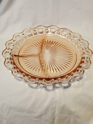 Anchor Hocking, 3 Part Relish Tray, Pink Open Lace (Old Colony) Pattern