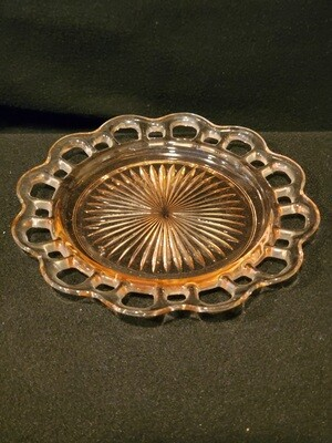Anchor Hocking, Salad Plate, Pink Open Lace (Old Colony) Pattern 7 3/8 W