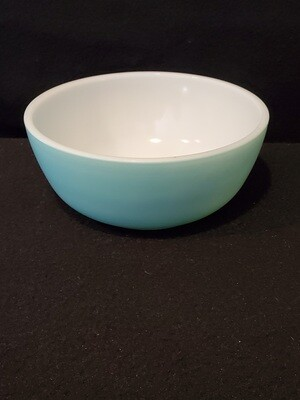 Hazel Atlas Cereal or Soup Bowl, Fired On Turquoise Blue, 4 7/8