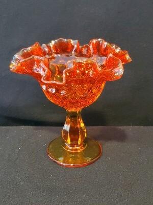 Fenton Thumbprint Compote, Colonial Orange Amberina, 6 1/8