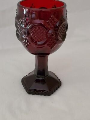Cape Cod Ruby Wine Glass, by Avon, 4 5/8