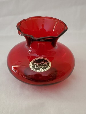 Anchor Hocking, Crimped Bud Vase, Royal Ruby Red 4 1/4