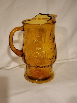 Libbey Glass Pitcher, Country Garden Amber Embossed Glass. 64 oz., 9 1/8