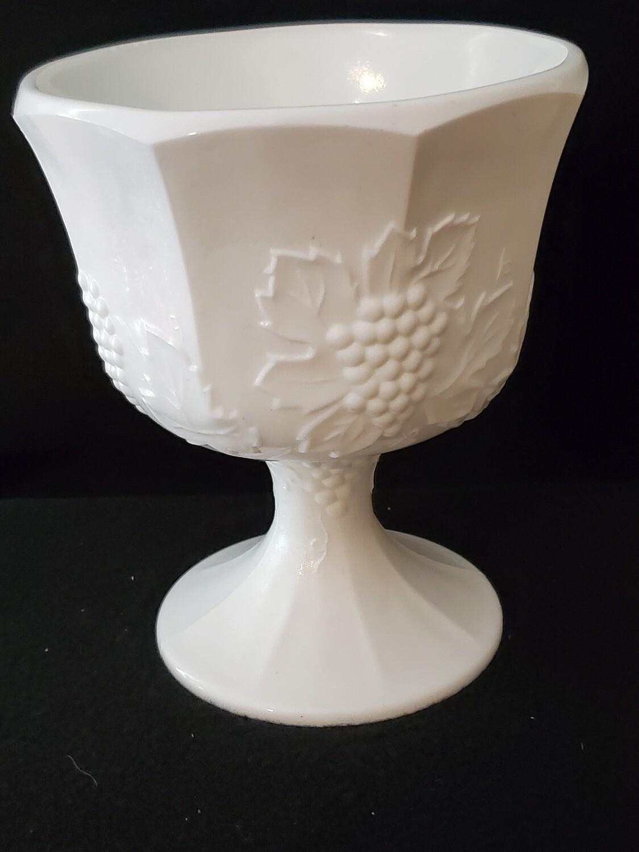 """Planter , Harvest Milk Glass, by Colony 6 1/2"""" H x 5 1/2 W"""