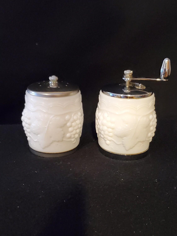 """Thompson Milk Glass, Grape Cluster, Pepper mill & Salt Shaker set. 2 1/2"""" H."""