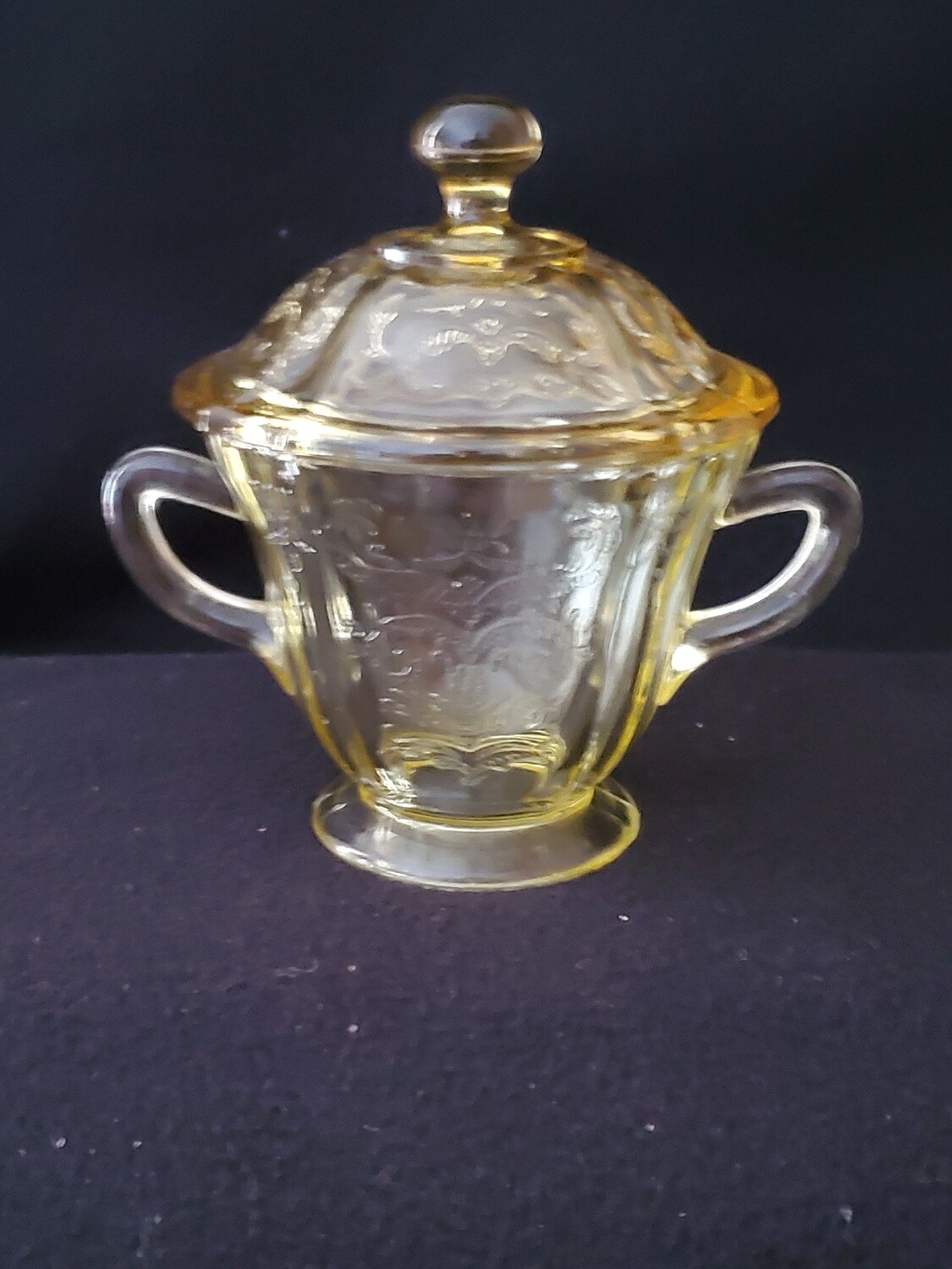 Vintage Amber Yellow Depression Glass, Sugar With Lid, Madrid Pattern by Federal Glass. 5 1/4""