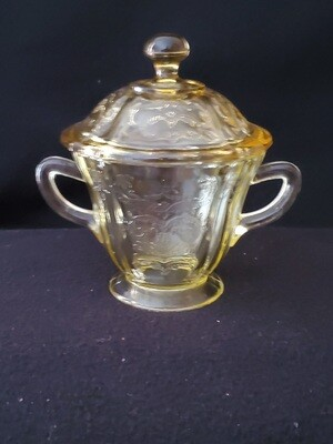 Vintage Amber Yellow Depression Glass, Sugar With Lid, Madrid Pattern by Federal Glass. 5 1/4