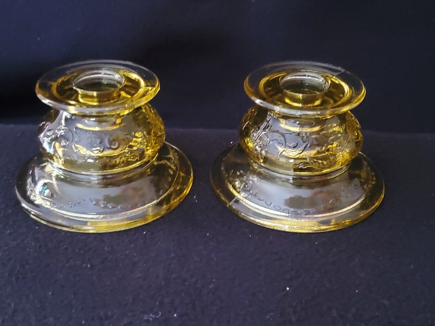 """Vintage Amber Yellow Depression Candle Holder Set,  Madrid Pattern by Federal Glass. 2 1/4"""""""