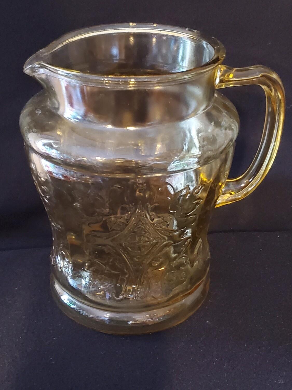 "Vintage, Pitcher 7 1/2"" 80 oz., Madrid Amber Depression Glass by Federal Glass."