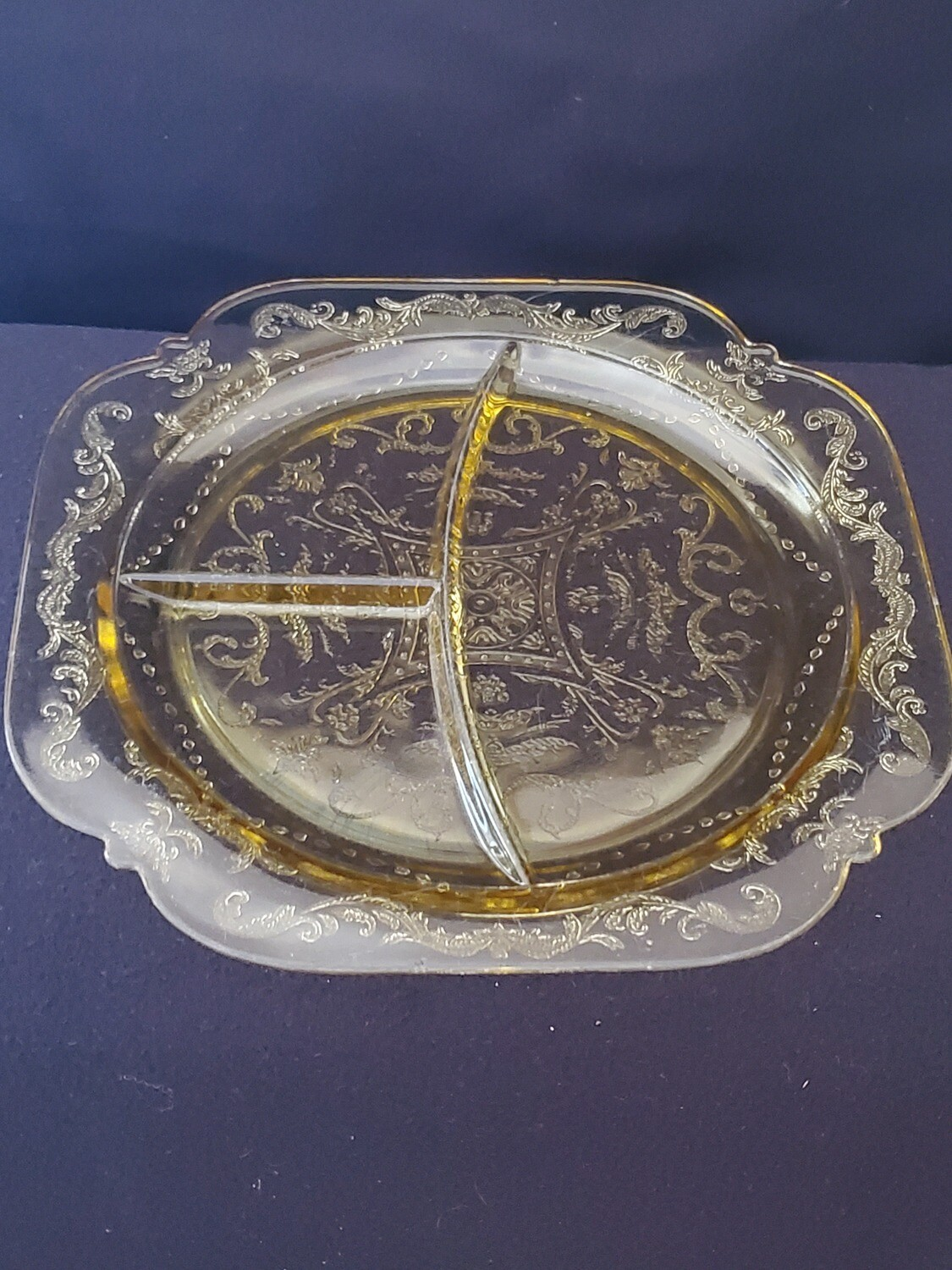 "Vintage, Grill Plate 10 1/2"", Madrid Amber Depression Glass by Federal Glass"