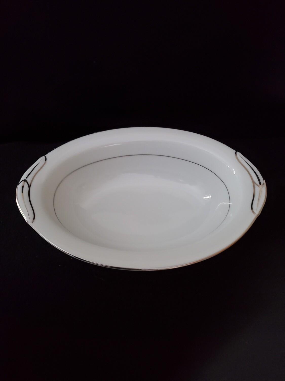 "Noritake China, Oval Vegetable Bowl 10 5/8"" , With Platinum Trim, Pattern 5931 Derry"