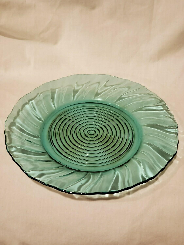 """Swirl Ultramarine (Blue Green) Scalloped Sandwich Plate 13 1/4"""" by Jeannette"""