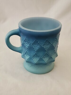 Anchor Hocking, Fire King Mug, Kimberly Diamond Light Blue and Dark Blue, 3 3/4