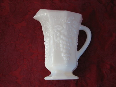 Anchor Hocking Milk Glass Pitcher, Grape Pattern
