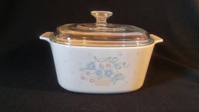 Corning Ware, Casserole 3 qt, With Cover, Country Cornflower Pattern, A-3-B