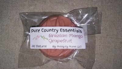 Pure Country Essentials Soap, Castile All Natural Glycerin, Brazilian Mango & Grapefruit Fragrance, Guest Round