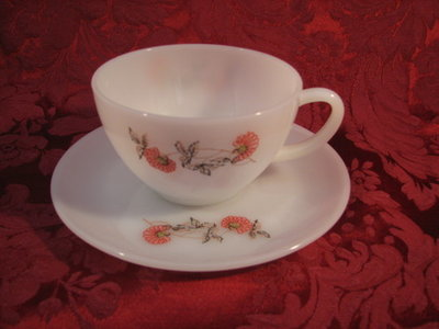 Fire King by Anchor Hocking-Cryst Cup & Saucer