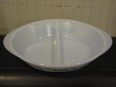 Glasbake Divided Vegetable Dish J-2352, Aqua Fruit Design