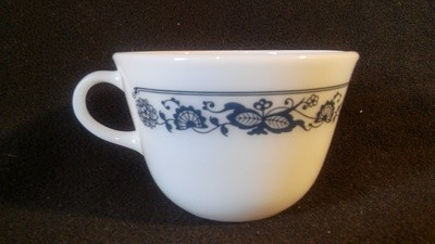 Pyrex, Flat Coffee Tea Cup, Blue Onion Pattern, Old Town Blue
