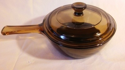 Corning Ware Visions, Sauce Pan Non Stick, 1 Pint (WITH LID!) Amber